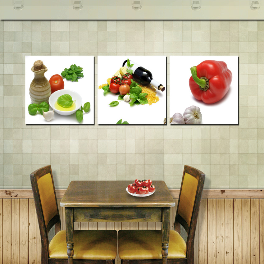 Modern painting pictures on wall for home 3 piece set for Kitchen decoration piece