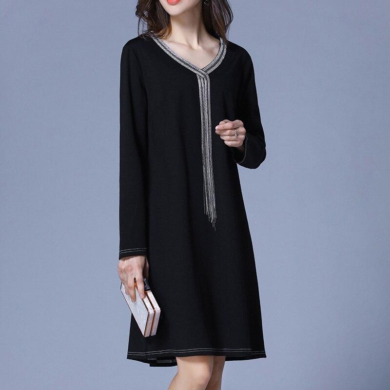 US $23.21 |Plus Size Black V Neck Long Sleeve Tassel Knitted Dress Women  Elegant Casual Street Office Fashion Beach Dress Lady Clothing-in Dresses  ...