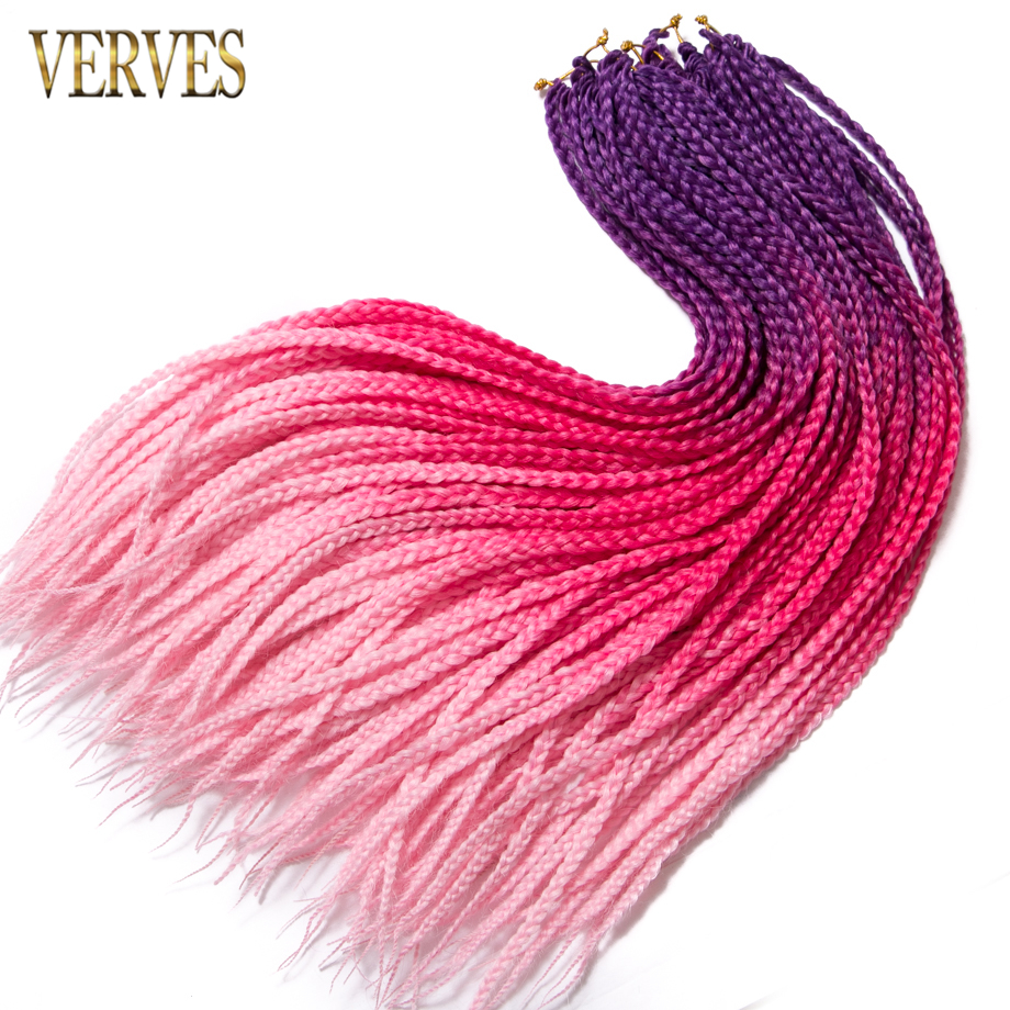 VERVES Crochet braids 7 pack 24 inch box braid 22 Roots pack Ombre Synthetic Braiding Hair