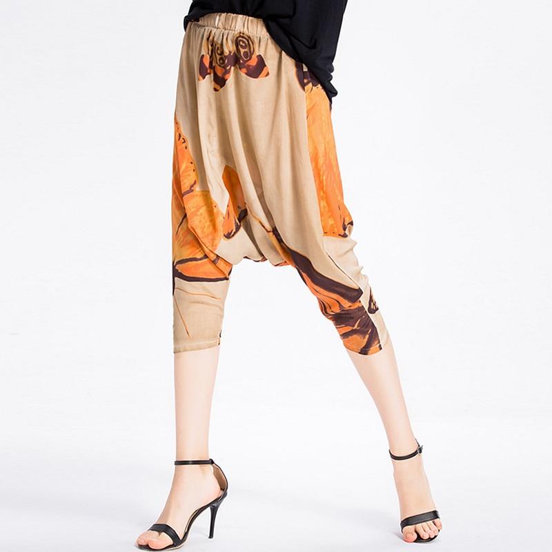 100% pantalons en soie femmes Harem Design imprimé élastique taille poches pantalon lâche nouvelle mode Europe et Style américain 2019-in Pantalons et corsaires from Mode Femme et Accessoires    1