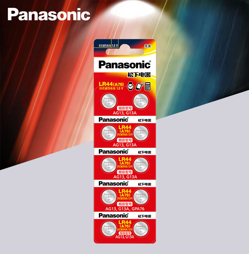 Panasonic 10pc 1.5V Button Cell Battery Lr44 Lithium Coin Batteries A76 AG13 G13A LR44 LR1154 357A SR44 100% Original