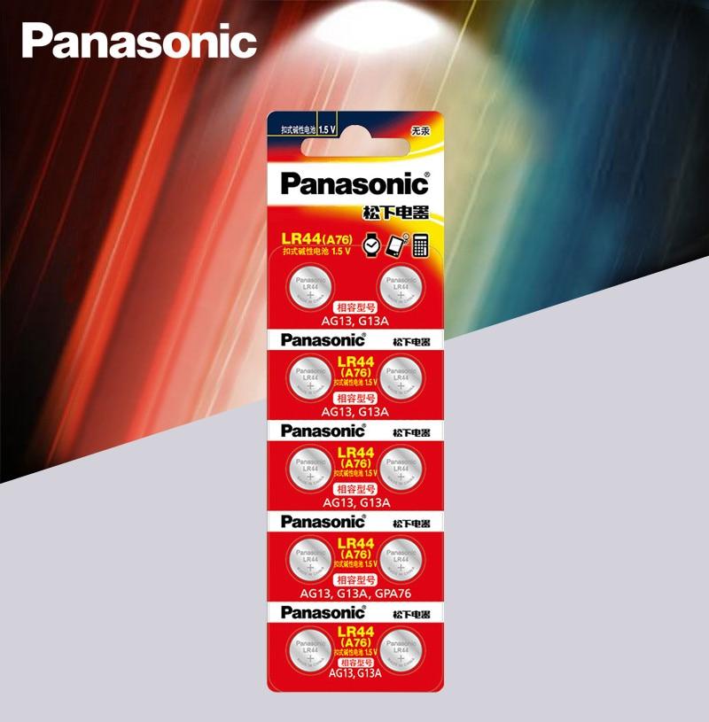 Panasonic 10 шт. 1,5 V кнопочный элемент Батарея lr44 Литиевые Батарейки-таблетки A76 AG13 G13A LR44 LR1154 357A SR44 100% оригинал