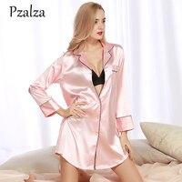 Victoria Pink White Sleepwear Lady Nightgown Silk Soft Spring Autumn Long Sleeve Women Nightgowns High Quality Nightdress Female