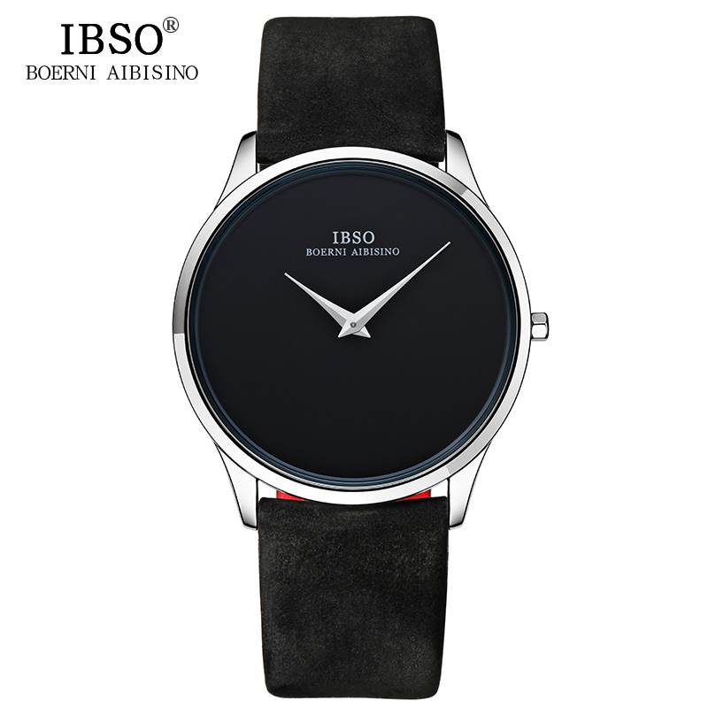 IBSO 7MM Ultra Thin Dial Dial Svart Klockor Topp Märke Luxury Male Quartz Watch 2019 Äkta Läder Rem Relogio Masculino