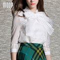 White stripe women tops OL bow decor chiffon blouse shirts blusas y camisas blusa camisetas y tops renda vetement femme  LT355