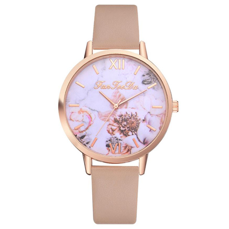 New Fashion Women Watches Flower Print Ladies Watches Leather Band Watches Wristwatch relogio masculino Dropshipping 35