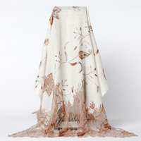Indian Style Handmade Beaded Scarf Female Embroidery Scarves Shawls Lace Warm Wool Echarpes Floral Mantilla High Quality Shawl