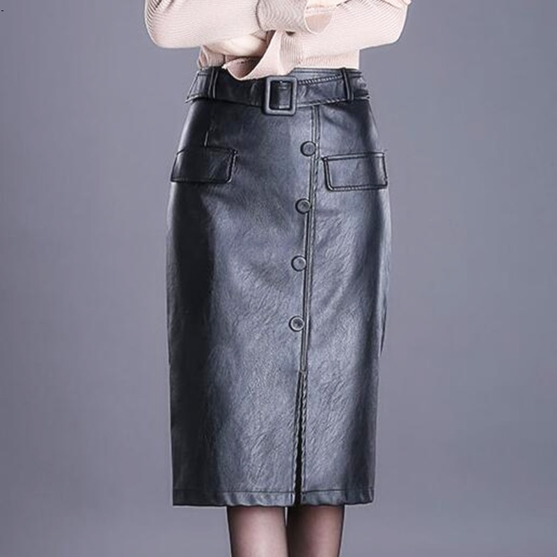Women s PU leather skirt female long section skirts girl high waist slim bag hip large