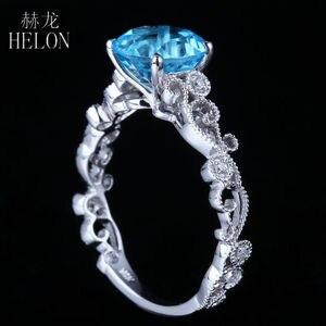 Image 2 - HELON Solid 14K White Gold 7MM Round 100% Genuine Blue Topaz & Pave Natural Diamonds Filigree Engagement Wedding Art Deco Ring
