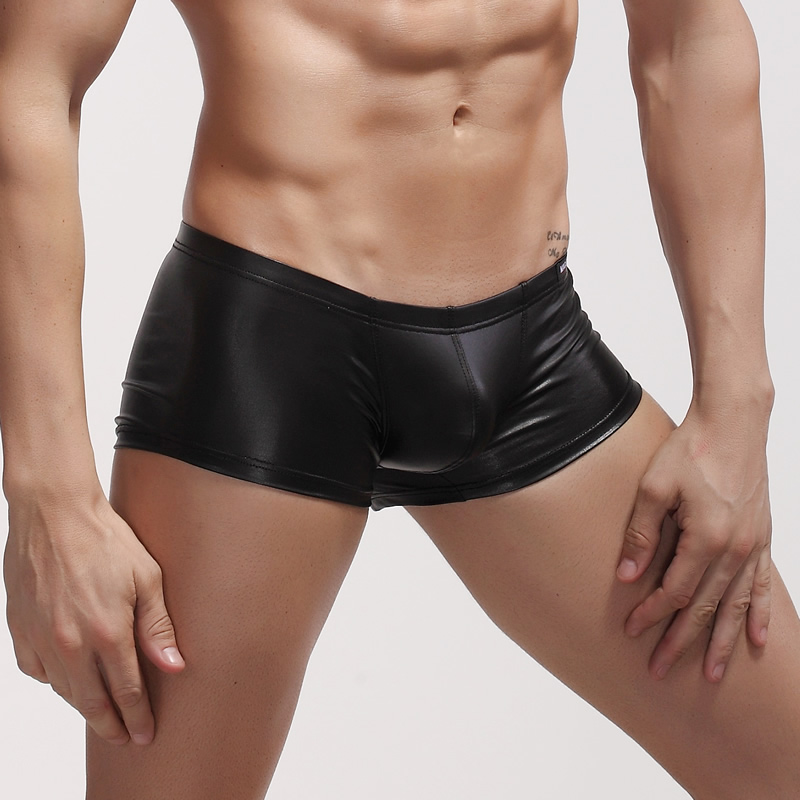 Sexy Mens Boxers Underwear Faux Leather Boxers PU Underpants Shorts Costumes Colorful Boxers Men Shorts Pants