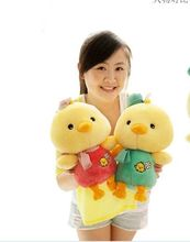 a pair of cute yellow chicken plush toys lovely red and green cloth chicken dolls gift about 30cm