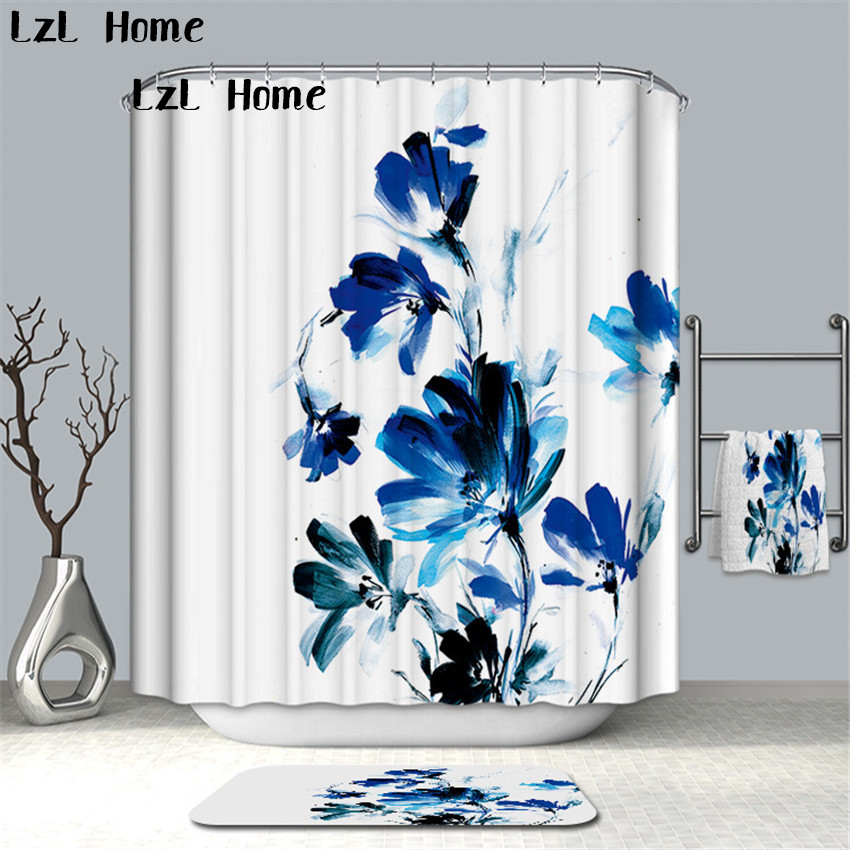 LzL Home 3D Fancy Lotus Orchids Printed Shower Curtain Fabric Polyester Waterproof Bathroom Curtain Duschvorhang Free Shipping zwbra shower curtain