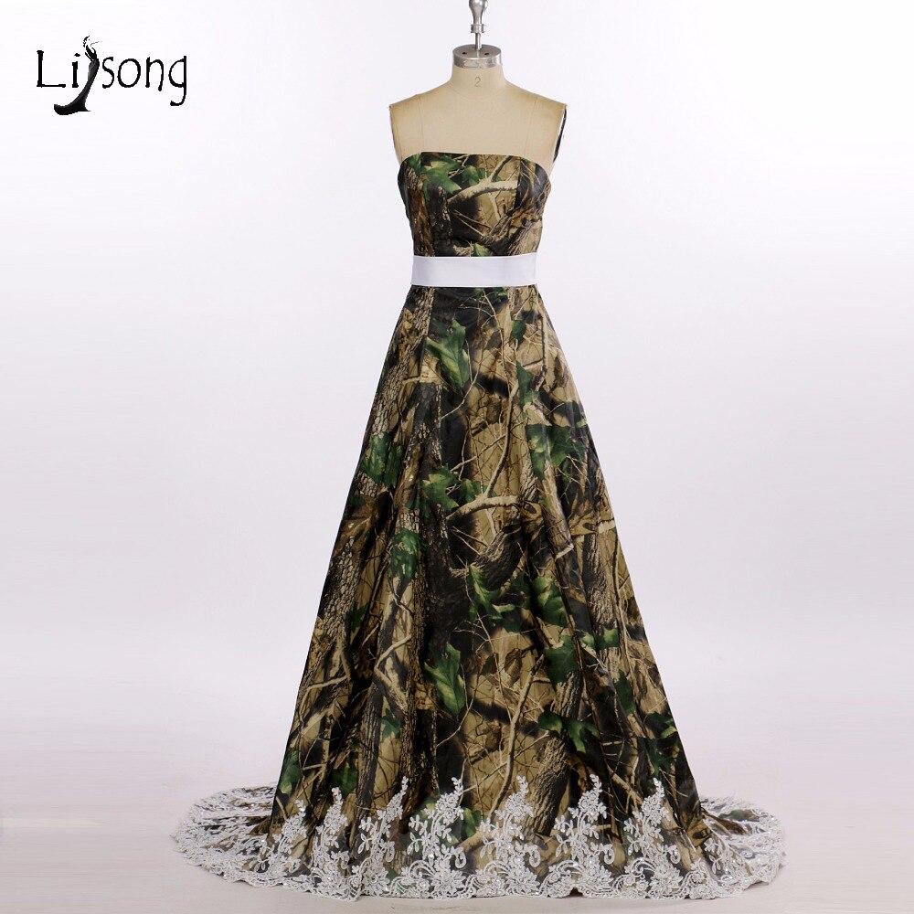 Camo Outdoor Wedding Ideas: Cheap Classic Camo Prints Wedding Dress For American
