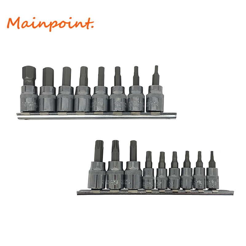 2Set Sockets Wrench Hex Bits Socket 8Pcs Allen Key And 9Pcs Tamper Proof Torx Star Bit Car Hand Tools Ratchet Drive Adapter Sets mainpoint 8pc hex bit socket allen key ratchet drive adapter set 3 8socket wrench car hand tools repair kit cr v steel bits