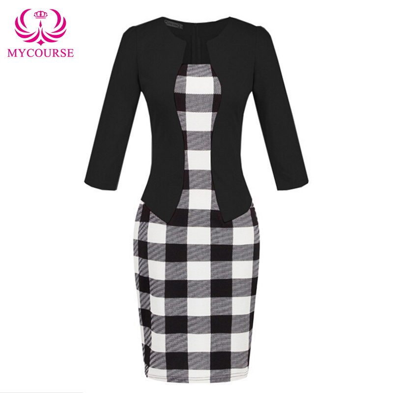 MYCOURSE Gürtel Work Elegant Printed Patchwork 3/4 Ärmel Bodycon Frauen Bleistift Kleid Faux Jacke Einteiliges Mantel Bodycon Kleid