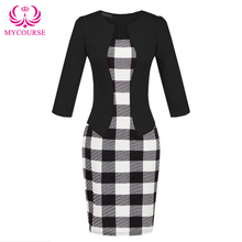 MYCOURSE Belt Work Elegant Printed Patchwork 3/4 Sleeve Bodycon Women Pencil Dress Faux Jacket One-Piece Sheath Bodycon Dress