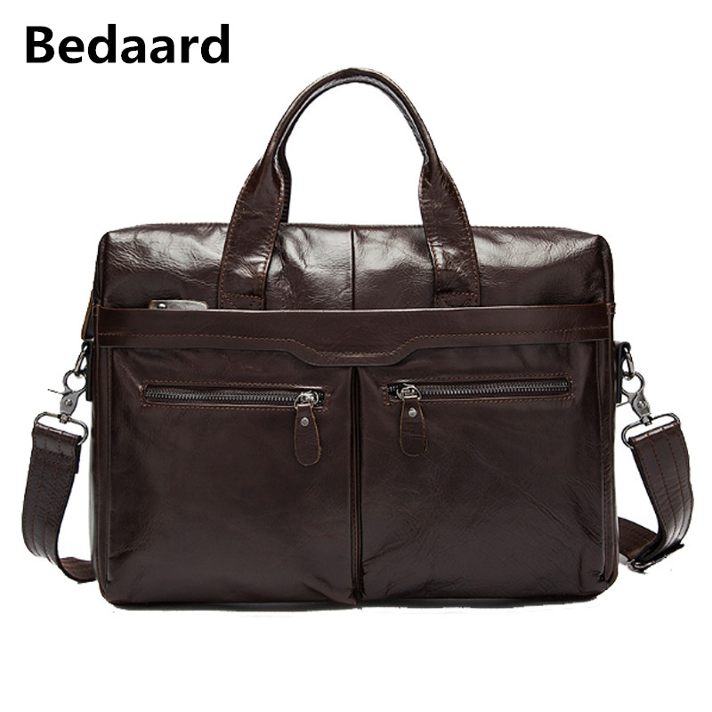 Bedaard Genuine Cow Leather Mens Messenger Bags Male Leather Shoulder Crossbody Bags Man Business Briefcase Satchels Bags Casual