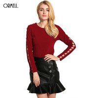 ORMELL Women Solid Cotton Basic T Shirt O Neck Long Sleeve Hollow Out Brief Shirts Camisas