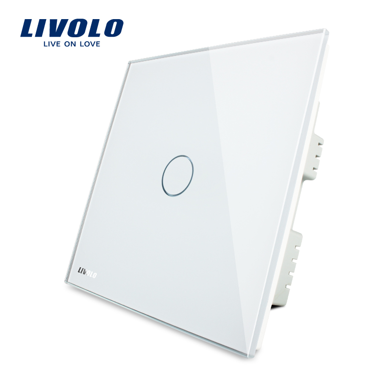 Livolo UK Standard Wall Switch, Ivory White Crystal Glass Panel,AC 220-250V VL-C301-61, Light Touch  Switch,1 Gang 1 Way funry uk standard 1 gang 1 way smart wall switch crystal glass panel touch switch ac 110 250v 1000w for light
