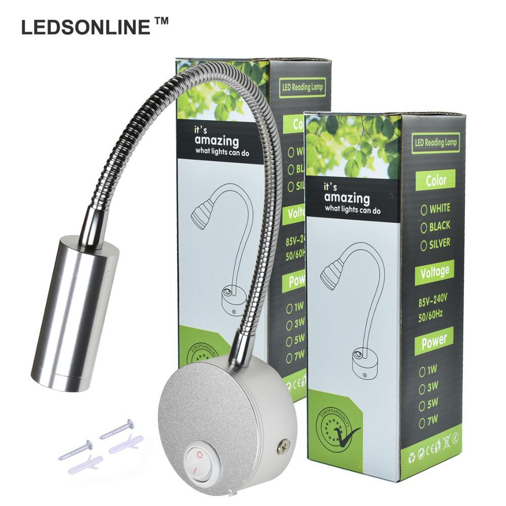 LEDSONLINE 3W LED Wall Sconce Lamp Silver Spotlight Reading Light Soft Light Gooseneck Fleksibel Pipa Cahaya dengan Switch Aluminium