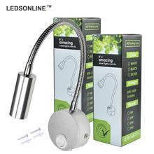 LEDSONLINE 3W LED Wall Sconce Lamp Spotlight Reading Light Soft Gooseneck Flexible Pipe with Switch Aluminum