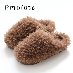 Men's Shoes Winter Large Size 45-47 Soft Faux Fur Slides Man Solid Short Plush Keep warm Home Slippers for male