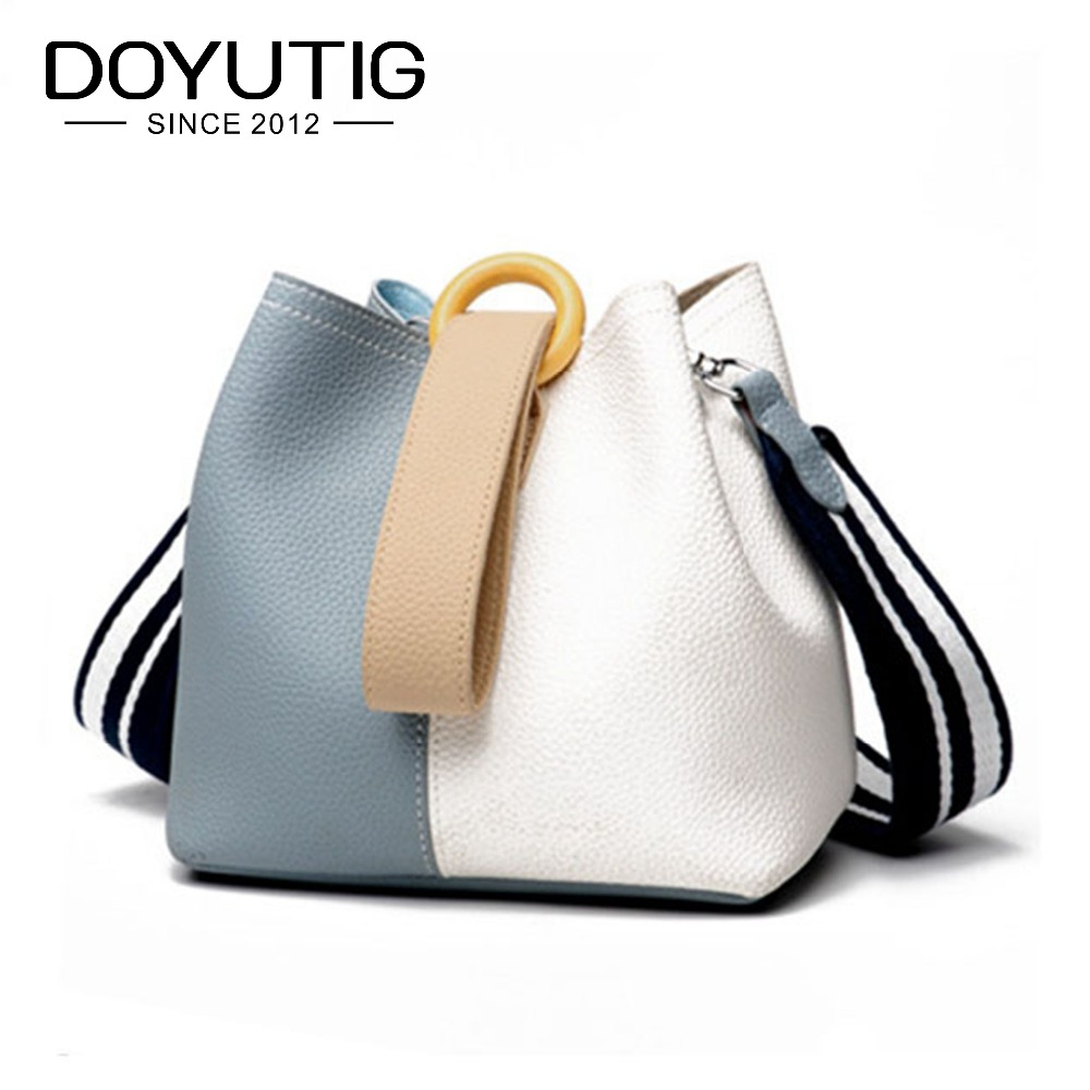 Us 46 75 45 Off Doyutig Trendy Women S Genuine Leather Bucket Bags With White And Blue Splice Color Lady Fashion Handbags Crossbody F562 In