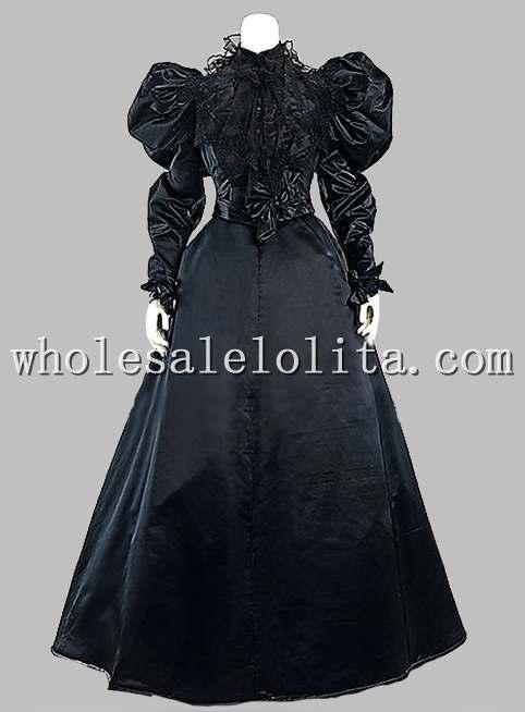 Готический черный шелк-как в викторианском стиле 1870/90 s платье эпохи