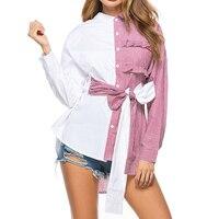 Women S Tie Waist Blouse Elegant Striped Patchwork Blouses Autumn Fashion Irregular Shirt Front Short Back