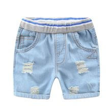 Qianquhui Summer Infant Ripped Jeans Shorts For Boy Cool Style Denim Boy's Panties Jeans Shorts For Children Girls Shorts 2-7Y недорого