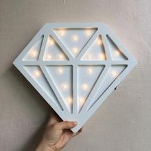 Купить с кэшбэком Diamond Nordic Kid's room decoration LED lamp white wooden diamond lamp decorative pendant MDF wall decoration IY304123-23