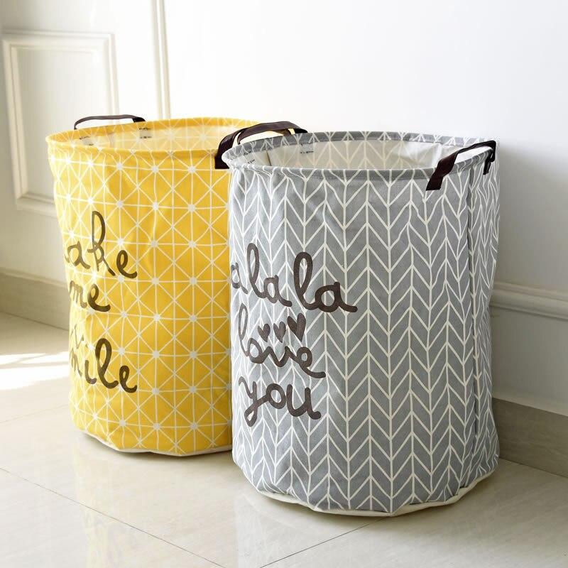 40x50cm Large Kids Toy Storage Bag Letter Laundry Bag Cotton Linen Washing  Laundry Basket Dirty Clothing Hamper Storage Bags
