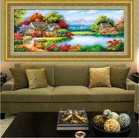 5d cube diamond embroidery scenic lake house happy home decoration living room landscape round rhinestones pasted pictures new