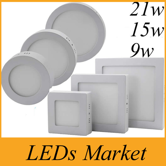 Dimmable 9W 15W 21W Round Square Led Panel Light Surface Mounted Lights Downlight