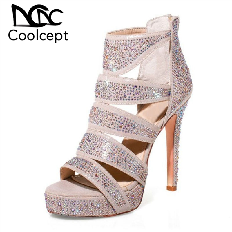 Coolcept Women High Heel Sandals High Quality Rivets Platform Women Summer Party Shoes Zipper Spike Heel Sandals Size 34-41Coolcept Women High Heel Sandals High Quality Rivets Platform Women Summer Party Shoes Zipper Spike Heel Sandals Size 34-41