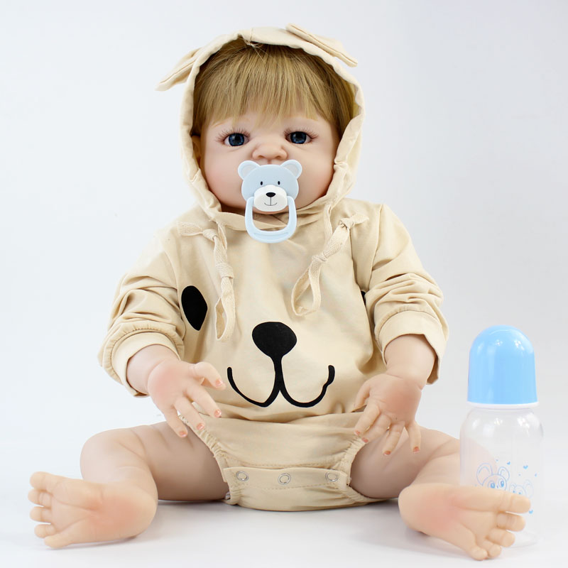 "NPKCOLLECTION 22"" Full Silicone Newborn Baby Boy Realistic Newborn Doll Alive Bebe Boneca Toy Waterproof Boy and Girl Partners"