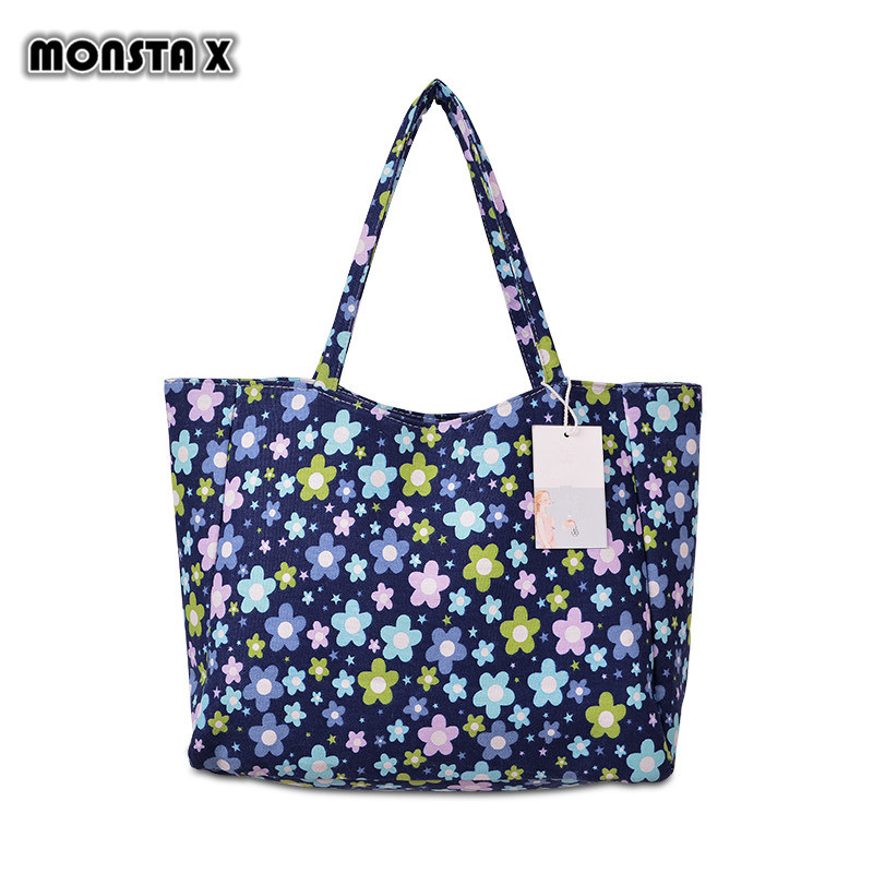 MONSTA X Waterproof Canvas Casual Zipper Shopping Bag Large Tote Women Handbags Floral Printed Ladies Single Shoulder Beach Bag excelsior waterproof canvas casual zipper shopping bag large tote women handbags floral printed ladies single shoulder beach bag