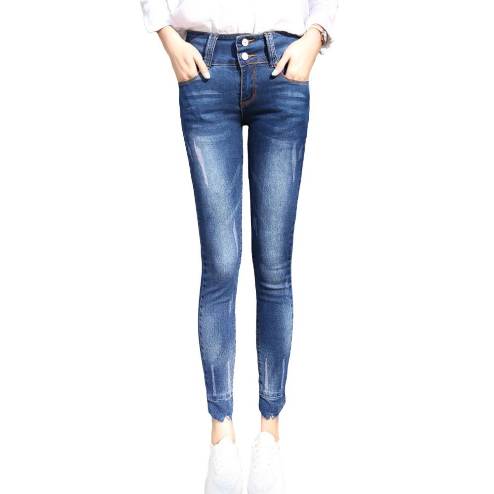 2016 New Fashion Women Jeans High-waist Regular  Pencil Pants Casual Skinny Slim Elastic Denim Pants Korean Style Femme Trousers women jeans 2017 korean fashion high waist casual denim skinny pant femme pencil jeans trousers female xl 5xl blue casual jeans