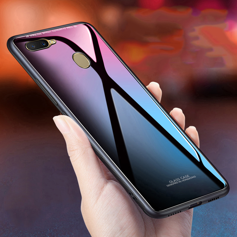 glass case for oppo a7 case cover soft silicone frame tempered glass back cover protective coque funda for oppo a5 a3s
