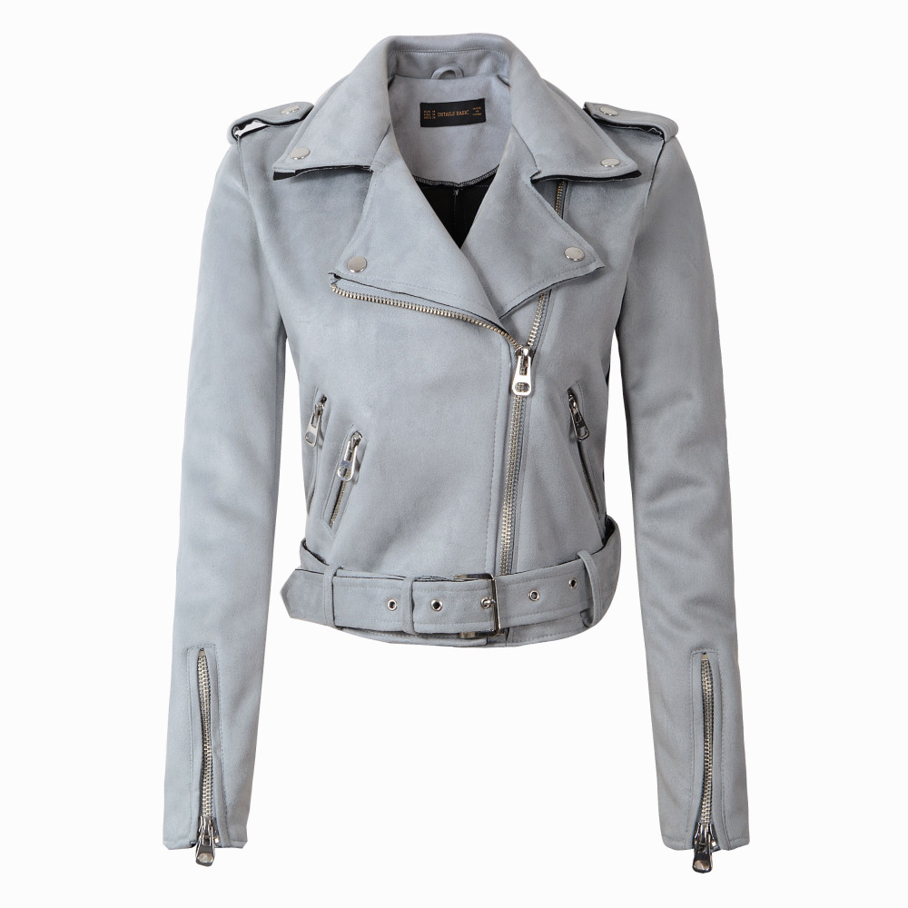 2018 New Fashion Autumn Winter Women   Suede   Fabric Slim Solid Zippers Short Motorcycle Coat Belt Epaulet European Outwear Tops