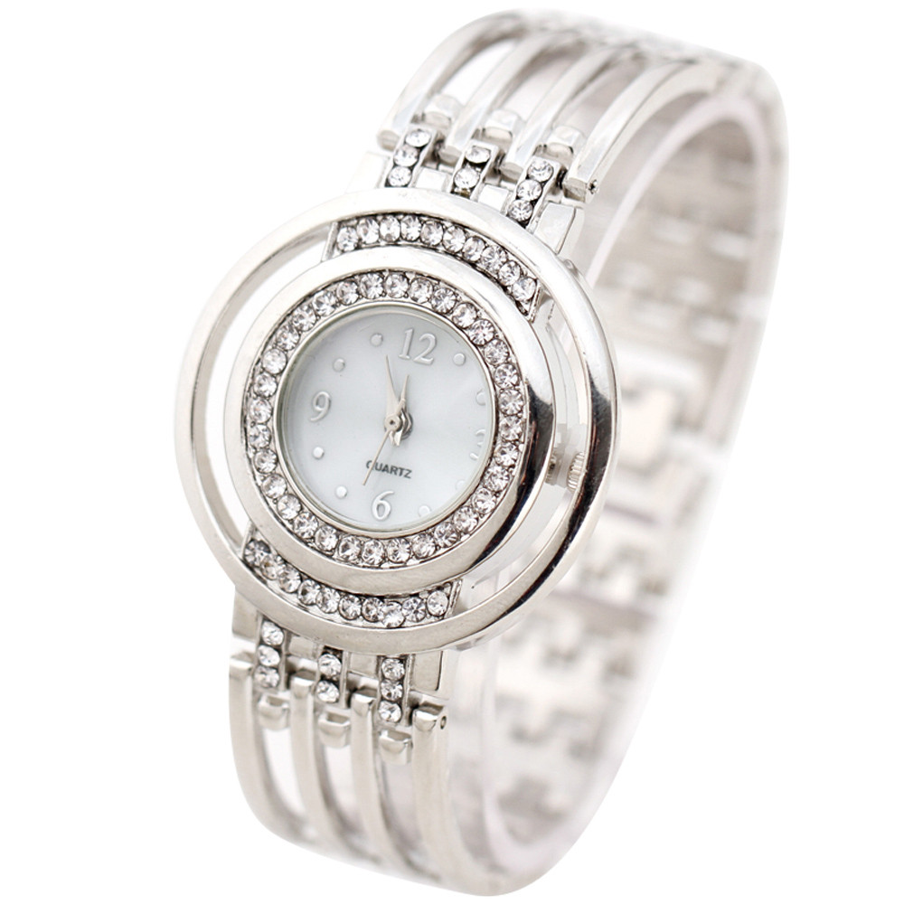 Relogio Luxury Rhinestone Round Dial Watch Women Fashion Stainless Steel Bracelet Watches Women's Female Clock Wrist Watch #N chic xinhua 701 round pink dial star shaped case bracelet watch with dots hour marks for women white