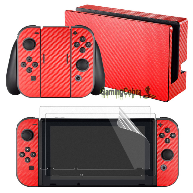 eXtremeRate Red Carbon Fiber Full Wrap Sticker Decal With Screen Protectors