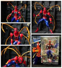 Anime 17CM X-men Amazing yamaguchi revoltech Iron Spider-Man PVC Action Figure spiderman Model Toy Collection Gifts the amazing spider man venom carnage revoltech series no 008 action figure toy brinquedos figurals collection model