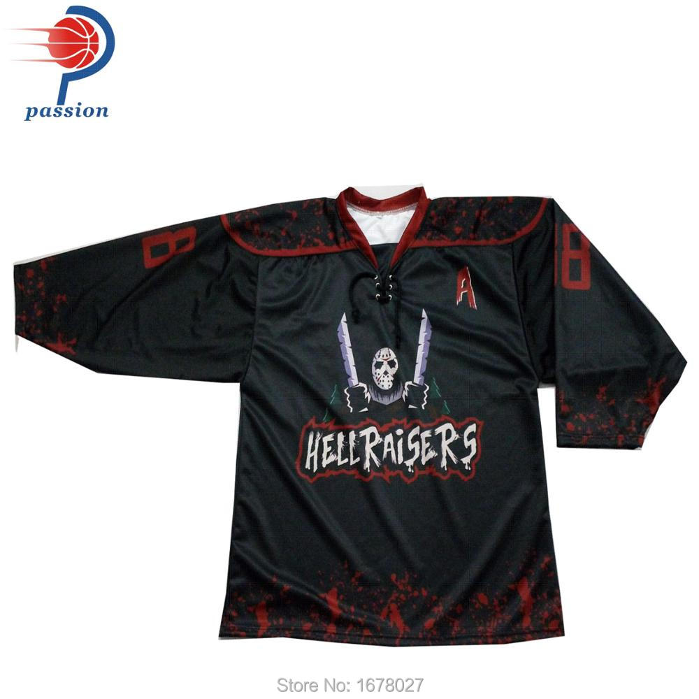 One Pieace Factory Price Black Ice Hockey Jerseys With Lace-up Collars Free  Shipping a8279dff156