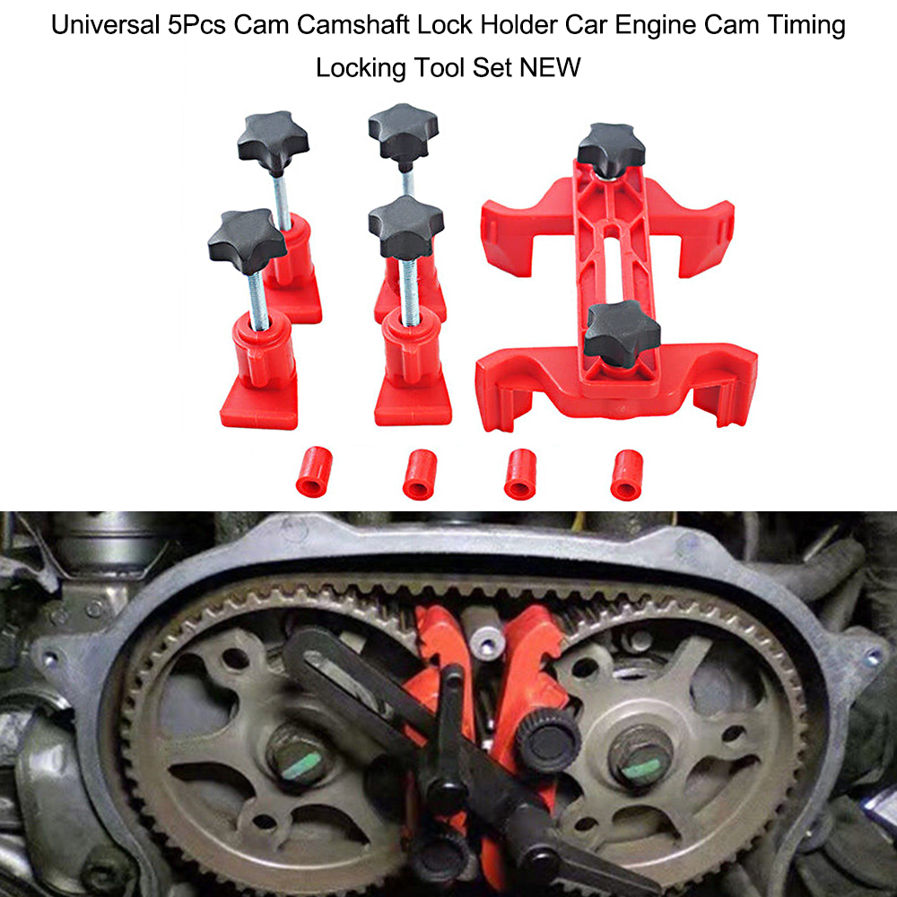 Universal 5Pcs Cam Camshaft Lock Holder Car Engine Cam Timing Locking Tool Set automotive timing belt disassembly tools autool 5pcs automotive engine timing belt camshaft locking alignment tool set for gm opel at2135