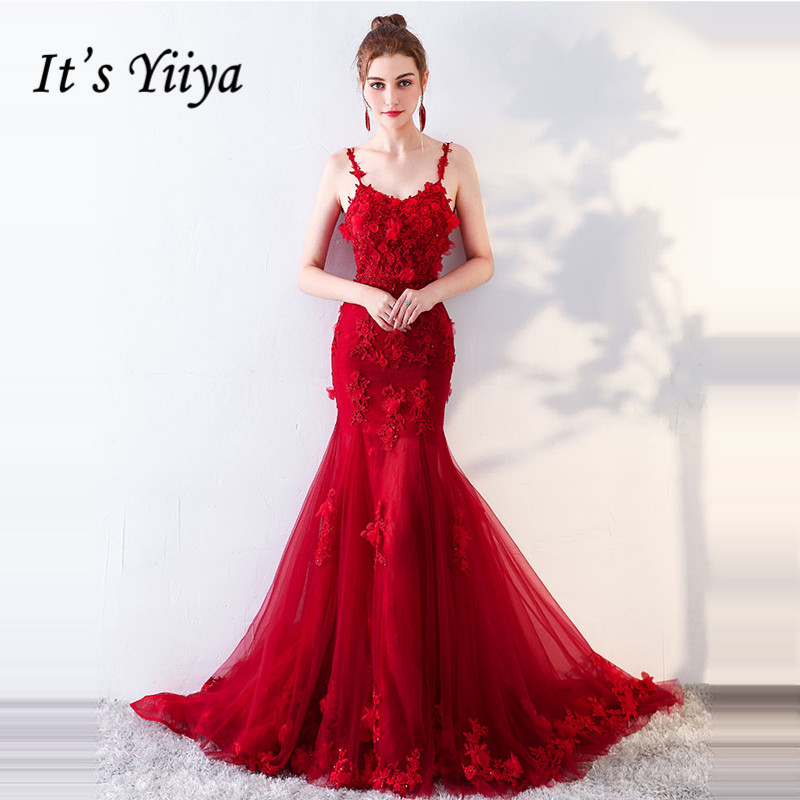 It's YiiYa   Evening     Dress   2019 Appliques Floral Spaghetti Strap V-neck Train Trumpet   Evening   Gowns LX1369 robe de soiree