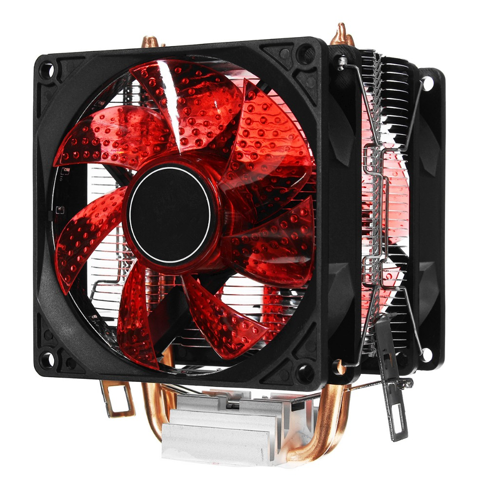 LED 2 Heat Pipe Quiet CPU Cooler Heatsink Dual Fan For LGA 1155 775 1156 AMD 12V Dual CPU Cooler Quiet Powerful Fan For AMD universal cpu cooling fan radiator dual fan cpu quiet cooler heatsink dual 80mm silent fan 2 heatpipe for intel lga amd