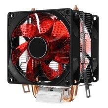 Светодиодный 2 тепловая трубка тихий Процессор теплоотводы Dual Fan для LGA 1155 775 1156 для AMD AM3 для AM4 Ryzen 12 V мощный вентилятор