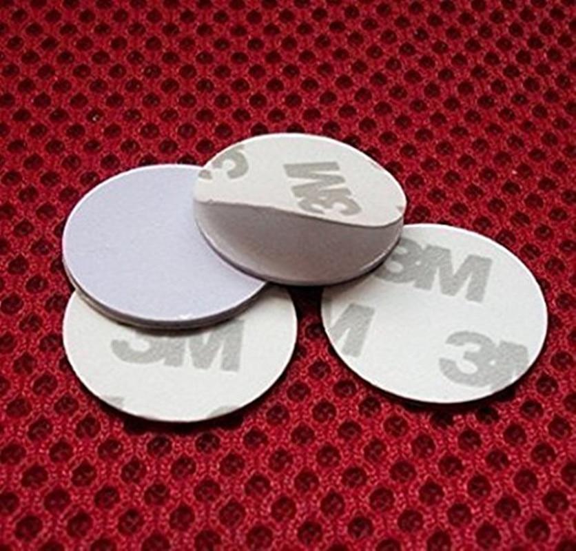 100pcs//lot LF 125Khz Rfid Tag ID Coin Card 25mm Blank With 3M Glue TK4100 Chip