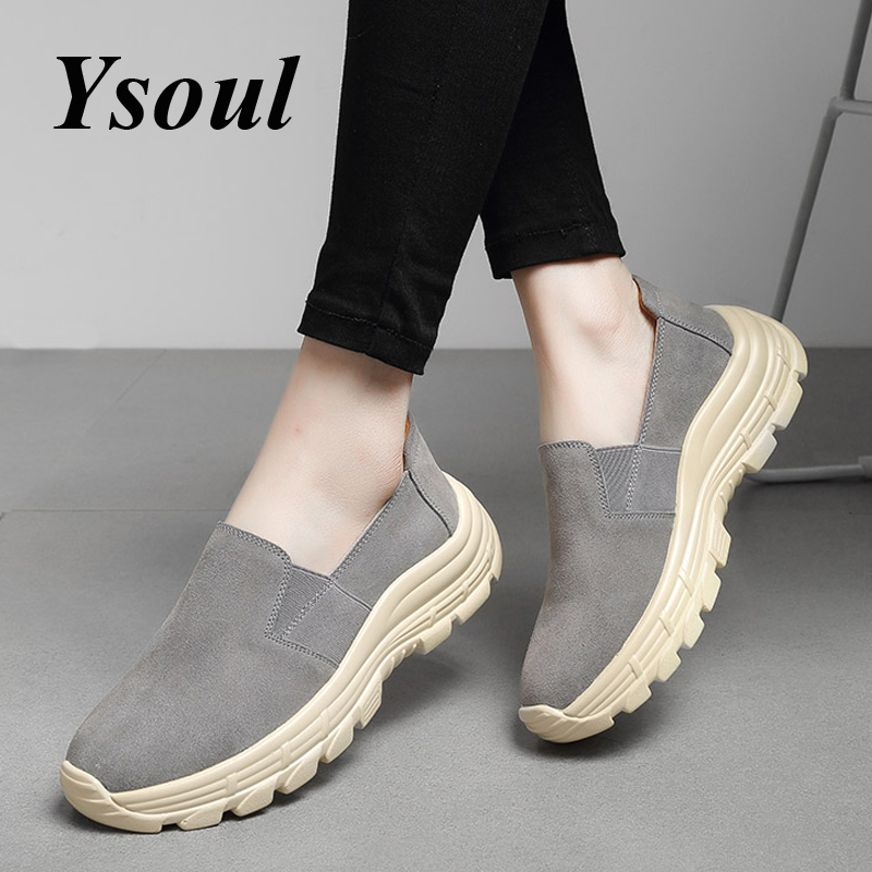 Ysoul Women Platform Loafers Shoes 2019 Spring Slip On Suede Sneakers Ladies Flats Shoe Low Wedge Mo